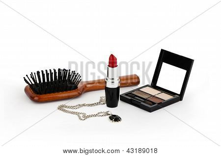 Red Lipstick, Silver Chain, Powder And Comb