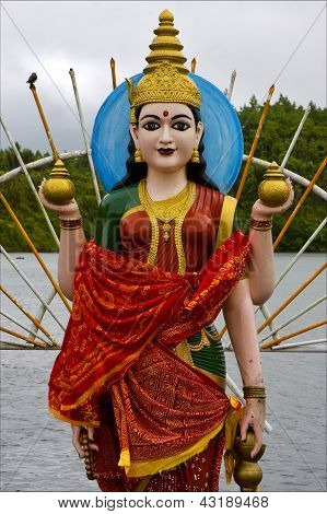 Wood Statue Of A Hinduism  Women