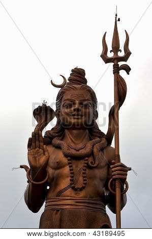 Wood Gold Statue Of A Hinduism    Shiva