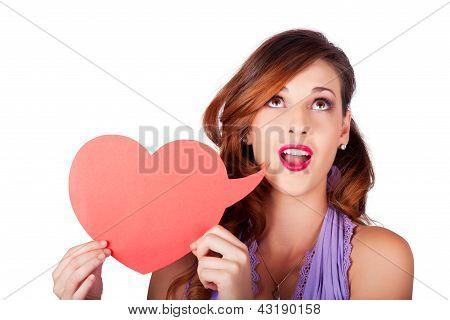 Isolated Girl Talking Through Heart Speech Bubble