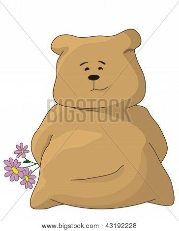 Urso de pelúcia com uma flores de férias
