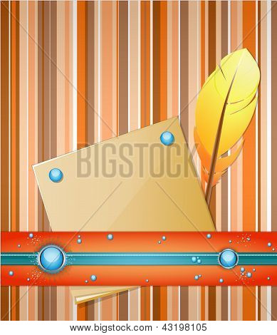 Orange - blue background with feather and paper.