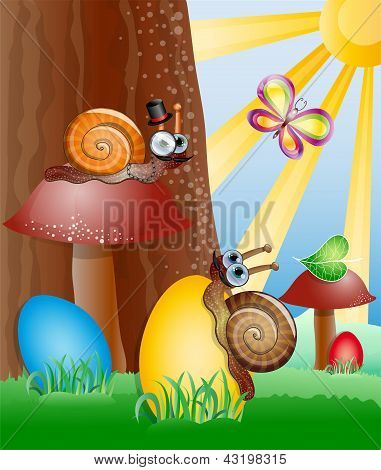 Easter picture with snails.