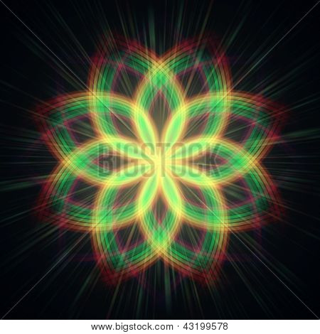 Shining Flower, Rainbow Lights In Circles