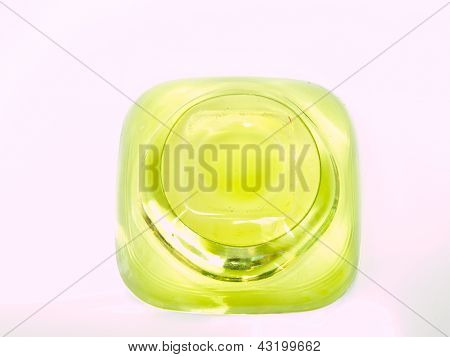 A Green Glass Candle Handle Buttom From Top view Isolated On White Background