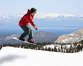 foto of rocky-mountains  - snowboarder jumping - JPG