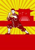 Постер, плакат: Шаолинь кунг фу боевые искусства мастер ретро