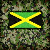picture of ami  - Amy camouflage uniform with flag on it Jamaica - JPG