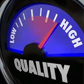 A fuel gauge with the word Quality to represent improving or increasing measurement of different att