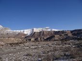 Light Winter Snow On Eroded Mountains  Near Grand Junction, Colorado..