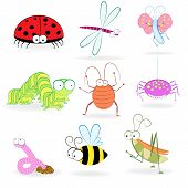 Set Of Funny Cartoon Insects. Vector Illustration