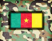 stock photo of ami  - Amy camouflage uniform with flag on it Cameroon - JPG
