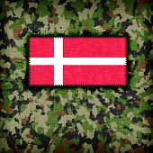 stock photo of ami  - Amy camouflage uniform with flag on it Denmark - JPG