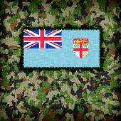 stock photo of ami  - Amy camouflage uniform with flag on it Fiji - JPG