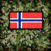 stock photo of ami  - Amy camouflage uniform with flag on it Norway - JPG