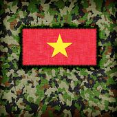 stock photo of ami  - Amy camouflage uniform with flag on it Vietnam - JPG