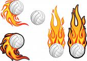 picture of volleyball  - Volleyball with Flames Set of 4 - JPG