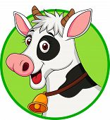 stock photo of moo-cow  - Vector illustration of cute cow head cartoon isolated on white - JPG