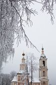 stock photo of uglich  - White tree and yellow church in winter in Uglich - JPG
