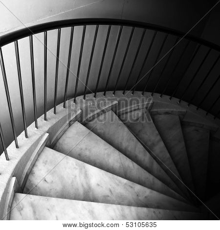 Marble Footsteps On Spiral Ladder