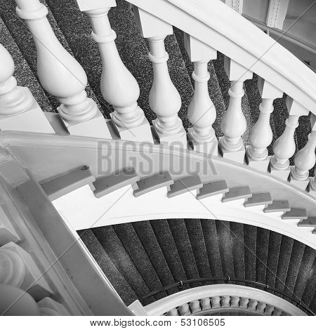 Stairs With Balusters. Abstract Classical Architecture Interior Fragment