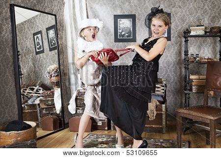 Little Girls Having Argument For Handbag