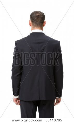 Backview of businessman, isolated on white