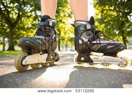 Close up of woman wearing inline skates in a park