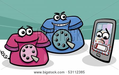 Smartphone With Retro Phones Cartoon