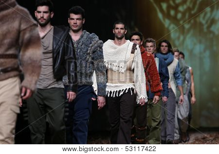 ZAGREB, CROATIA - OCTOBER 26: Fashion models wearing clothes designed by Boris Pavlin on the Cro a Porter show on October 26, 2013 in Zagreb, Croatia.