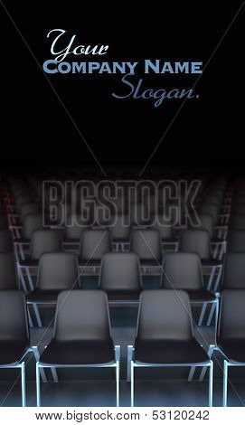 3D rendering of rows of black chairs