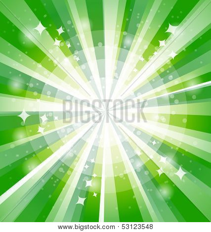 Green bright background with rays. Vector illustration. Eps 10