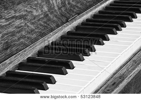 Diagonal Closeup of Piano Keys