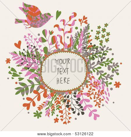 Stylish floral card with vintage bird and textbox. Beautiful floral design in vector.