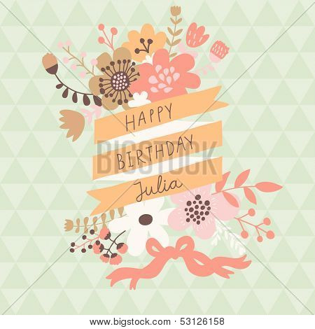 Stylish floral design element with textbox in vector. Bright spring card ideal for vintage holiday invitations