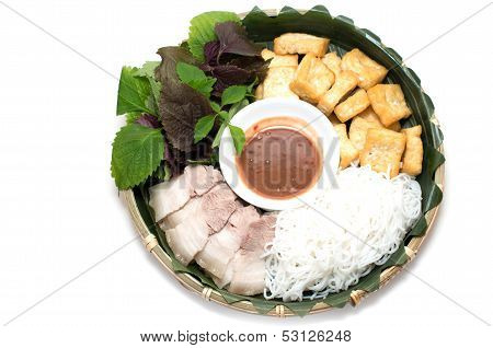 Vietnamese Traditional Plate Pork Vermicelli  Tofu And Vegetable