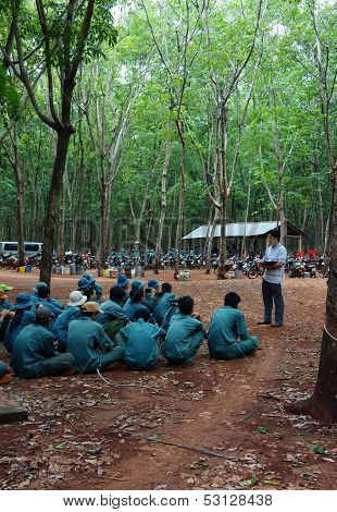 Worker Meeting At Rubber Plantation