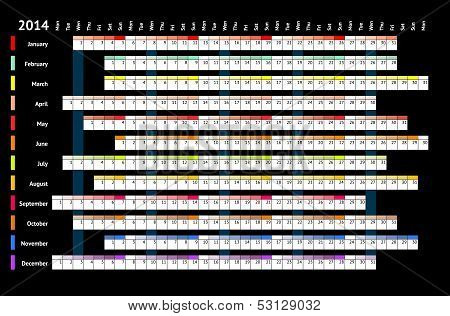 Linear Calendar 2014