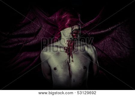 Carnival, Halloween, Blood, Scary, Male vampire with huge red coat and blood