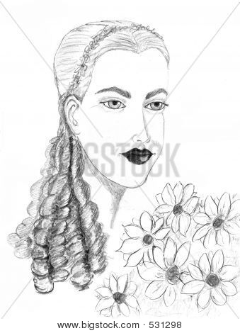 A Drawing Of A Beautifully Modest Lady And Her Flowers.