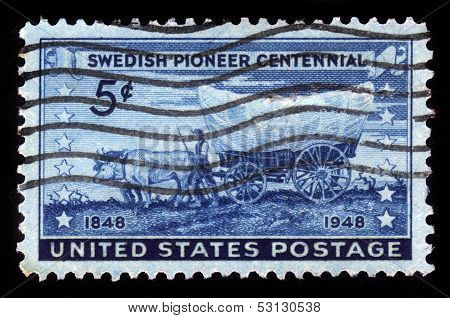 Swedish Pioneer With Covered Wagon