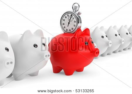 Time Save Concept. Red Piggy Bank With Stopwatch