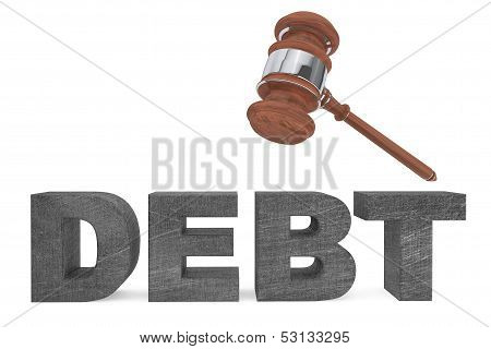 Judicial Gavel And Debt Sign