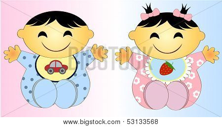 Twin Baby Boy And Girl Illustration