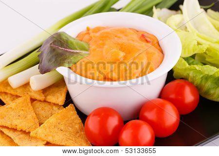 Nachos, Cheese Sauce,  Vegetables