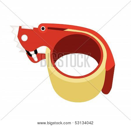 Adhesive Tape Dispenser On White Background