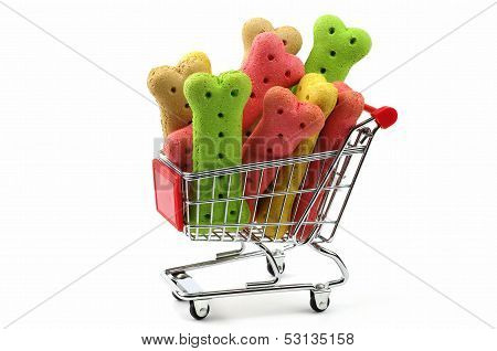 dog biscuits in a supermarket shopping cart