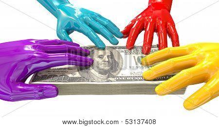 Hands Colorful Grabbing At Us Dollars