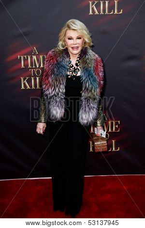 NEW YORK- OCT 20: Comedienne Joan Rivers attends the Broadway opening night of 'A Time To Kill' at The Golden Theatre on October 20, 2013 in New York City.