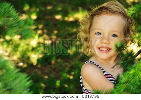 Little Girl Outdoors, In The Forest